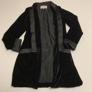 BB Dakota Curran Black Velvet Open Front Blazer XS